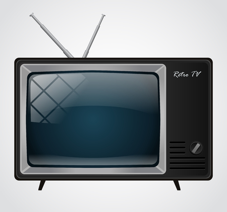 Icon of the good old retro TV without remote control