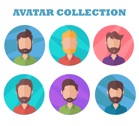 Man avatar collection. Profile picture in flat style