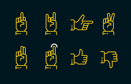 Hand gestures thin line icon set in dark colors. Vector touch screen gestures icons in thin line style.