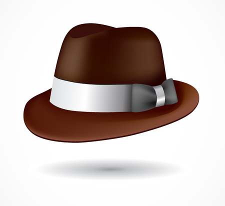 Vector fedora hat isolated on white. Vector EPS 10