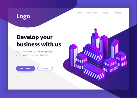 Smart city, intelligent building isometric vector illustration. Blockchain isometric composition for your design. Isometric vector illustration in purple colors Stock Photo