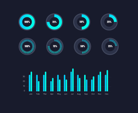 Infographic data graphs. Vector financial and marketing charts. Network data screen with charts and diagrams. EPS 10 Stockfoto