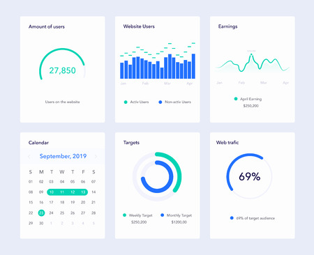 Set of flat design UI elements for website and mobile applications. Material style Illustration