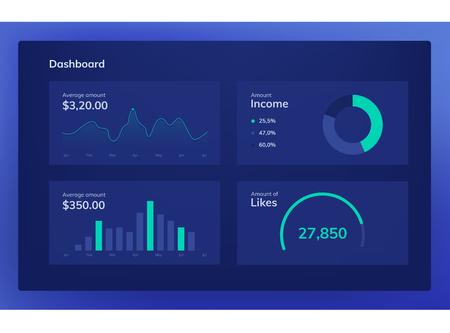 Set of flat design UI elements for website and mobile applications. Dark blue color. Illustration
