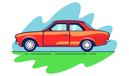 American 70s cartoon muscle car. Vector red retro styled car illustration.