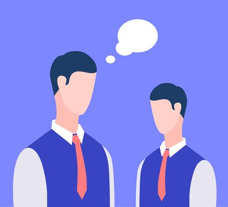 Two businessmen discuss the strategy of business. Meeting of friends or colleagues. Vector flat illustration Stock Illustratie