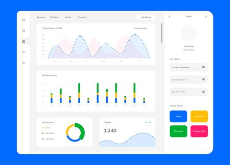 Dashboard UI kit in flat style. Modern template with data graphs, charts and diagrams. EPS 10