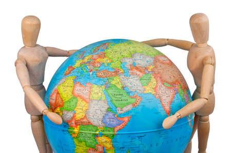 puppets: two wooden puppets (male and female) embracing the earth (globe)