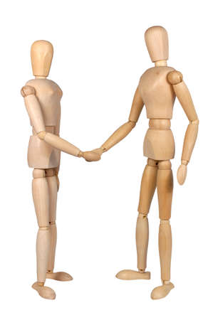 puppets: two wooden puppets (male and female) shaking hands