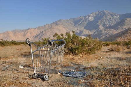 Discarded shopping cart in the Californian Desert