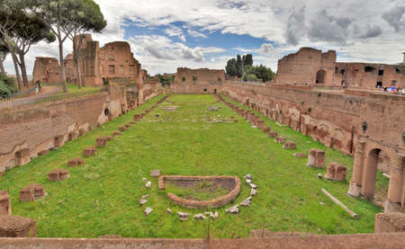 palatine: Rome, Italy - July 30, 2014: Stadium of Domitian on Palatine Hill in Rome.