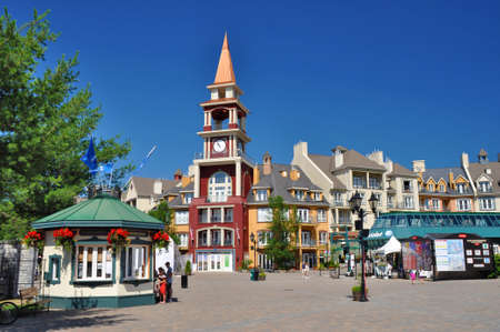 Center of the Mont-Tremblant Ski Resort in summer with cable car station on the right side.