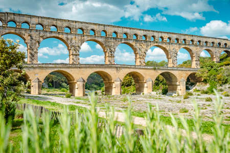 The aqueduct of Pont du Gard, France on a sunny summer day
