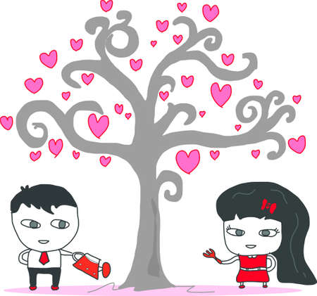 amorous: couple design over white background illustration