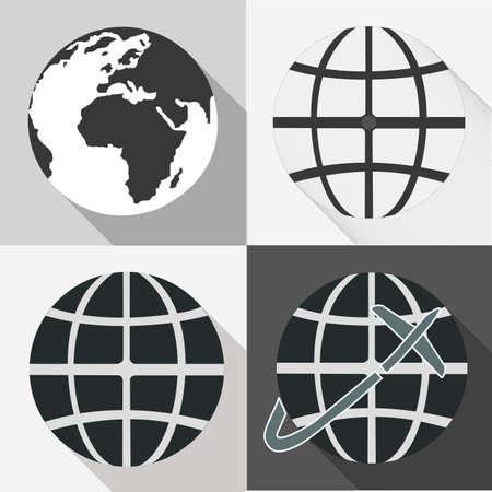 긴 그림자로 설정 글로브 지구 아이콘 일러스트