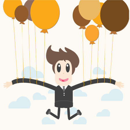 Businessman holding a balloon Vector