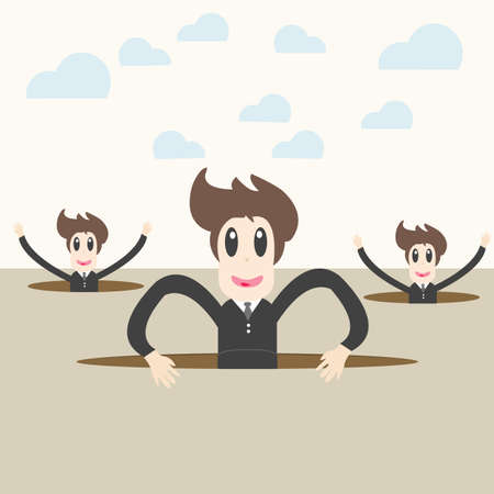 financial obstacle: businessteam coming out through a crack. Success concept Illustration