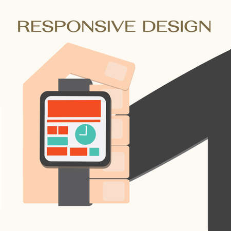 Responsive Web Design,hand with a wrist watch Vector