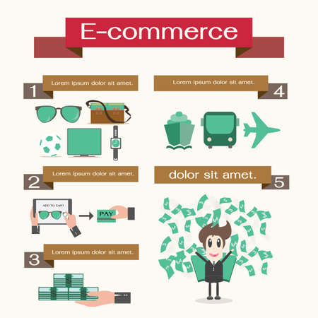 Online Shopping infographic numbere d banners, Vector Vector