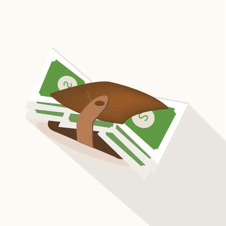 ballen: Brieftasche mit Dollar-Banknoten