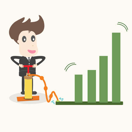 bloated: businessman make a chart going up,business idea  Illustration