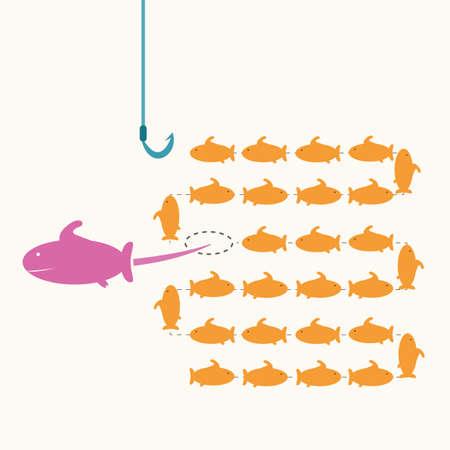 위험한 다른 방법으로, 아이디어 개념을 복용 핑크 물고기
