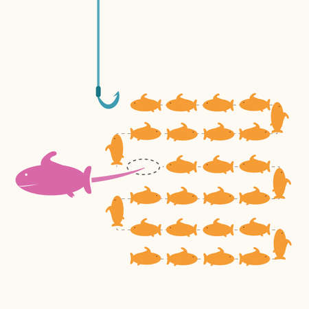 risky: pink fish taking a risky different way,idea concept  Illustration