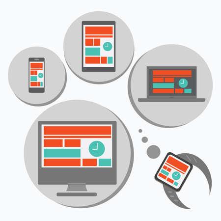 다른 장치에 대한 반응 웹 디자인 일러스트
