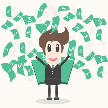 falling man: Business Man with money Vector Illustration