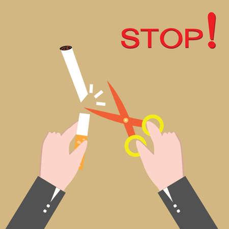 stop smoking: Stop smoking, human hands cutting the cigarette Illustration