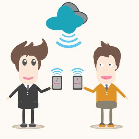transferring: transferring data,Business men