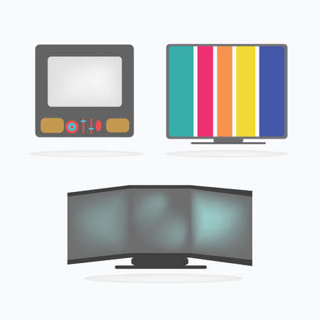 Retro Television Icons set Vector
