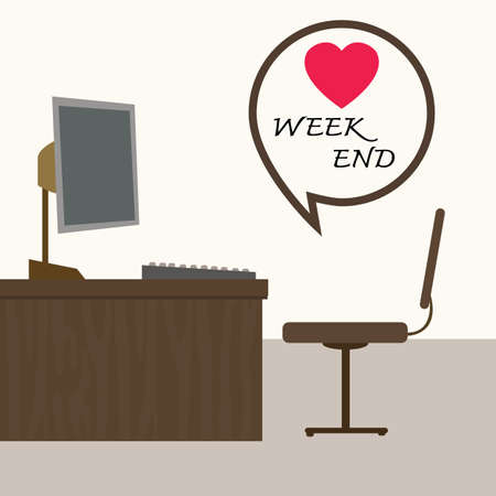 weekend: weekend at office, Vector illustration  Illustration