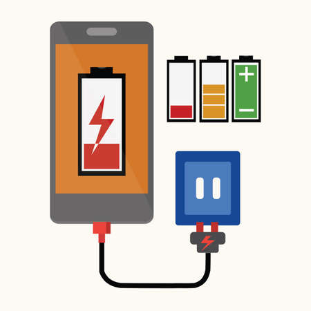 cell charger: Smart phone With Charger Illustration