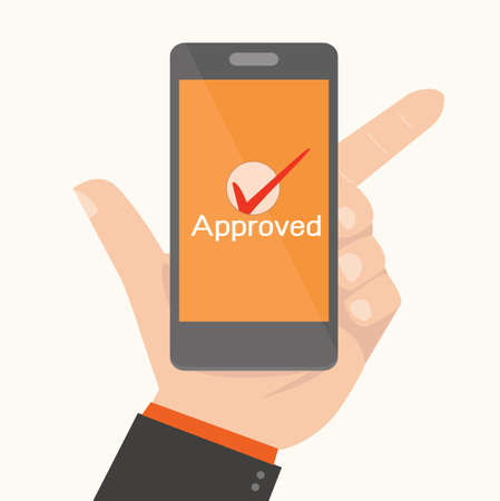 mobile banking: Smartphone Showing Approval,Online payments concept Illustration