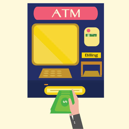 withdrawal: ATM, Money withdrawal,machine  Illustration