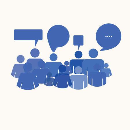 conversing: social media people meet inside a communication speech bubble