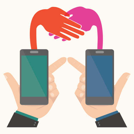 Business handshake,Smartphone concept Stock Vector - 26931757
