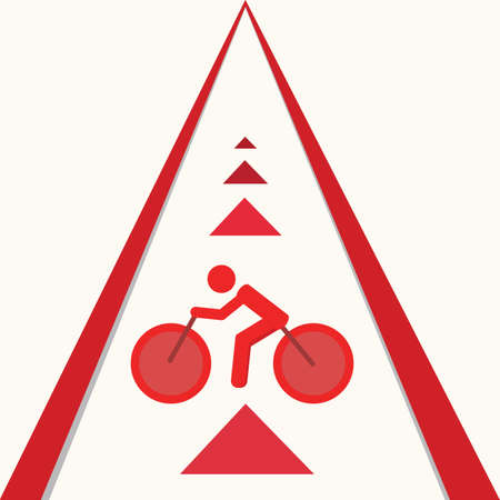 walking path: Bicycle route sign on the road and arrows pointing direction. Vector illustration.