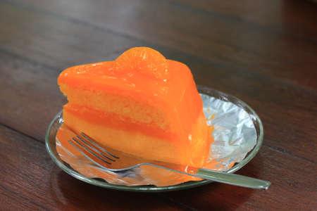 orange cake: Fresh orange cake. Stock Photo