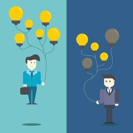 businessman with flying creative light bulb Vector