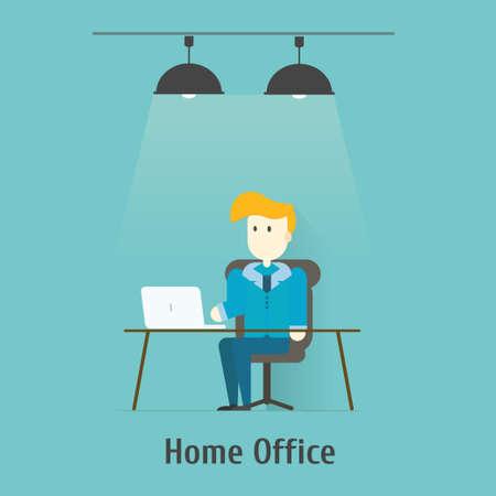 modern home: Flat design vector illustration of modern home office