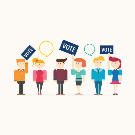 polling booth: people voting on elections, vector illustration