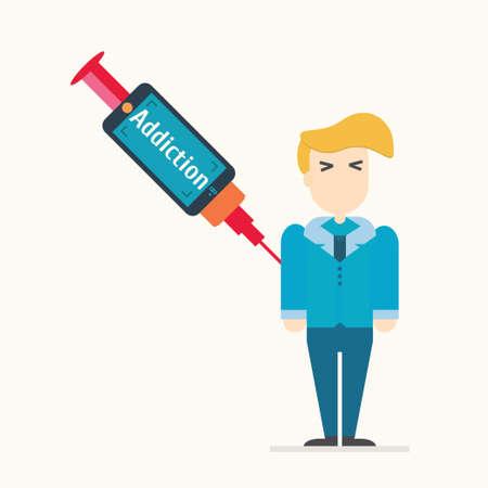 smartphone addiction: smartphone addiction. Vector illustration. Illustration