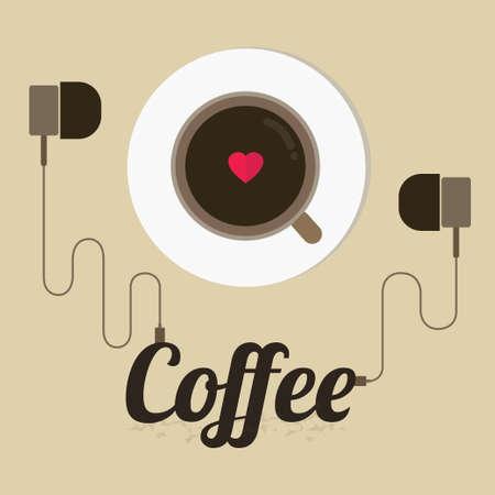 커피 컵, 벡터, 그림 포스터. 일러스트