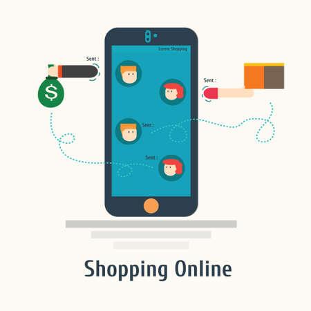 Tiendas en línea móvil, smartphone.