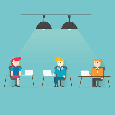 Team Working in Office.,vector,illustration. Vector