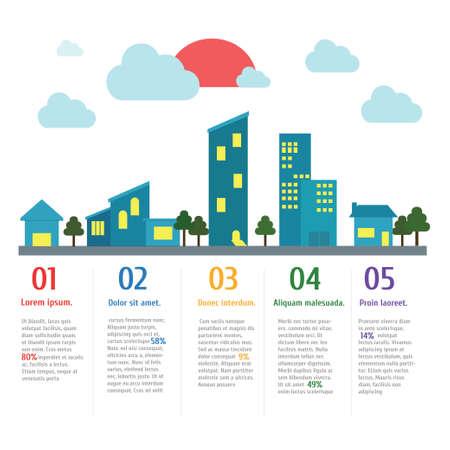 주택 및 도시 배너 인포 그래픽, 벡터, 그림.