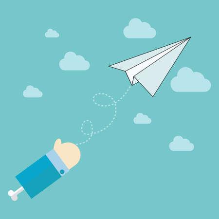 paper plane: paper plane on blue sky,vector,illustration.