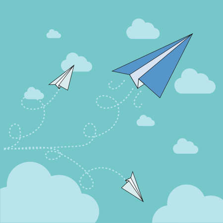 paper plane flying up,vector,illustration. Vector